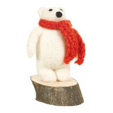 Felt So Good Polar Bear on Wooden Base Christmas Decoration