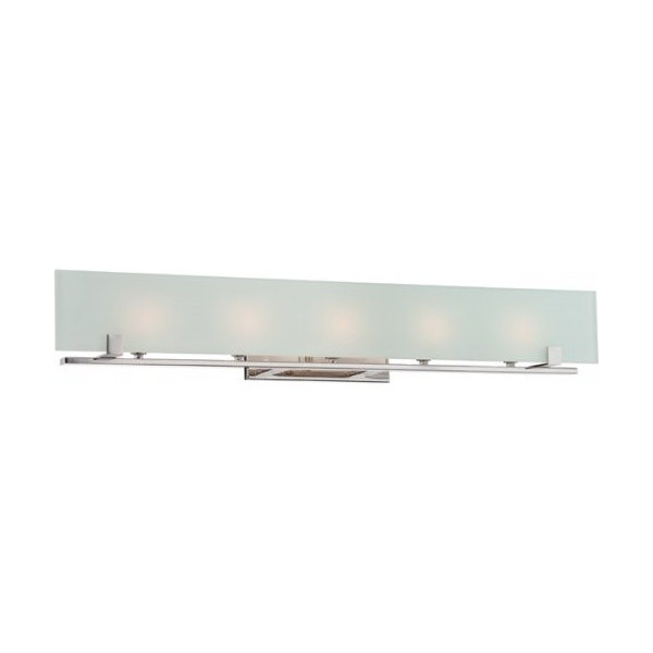 Lynne, 5 Light Halogen Vanity Fixture w/ Frosted Glass, Lamps Included