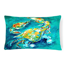 By Chance Crab In Aqua Blue Canvas Fabric Decorative Pillow