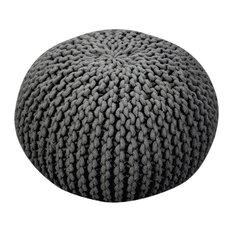 GDF Studio Poona Hand Knitted Artisan Pouf, Gray