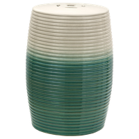 """18"""" Beige and Green Ribbed Porcelain Garden Stool"""