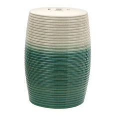 "18"" Beige and Green Ribbed Porcelain Garden Stool"