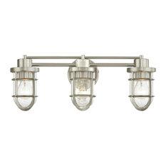 Seeded Glass Bathroom Light Satin Nickel Cage 3 Lt