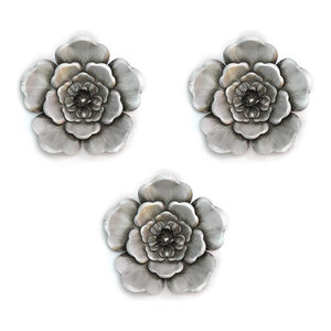 Alluring Silver Metal Wall Flowers Contemporary Metal Wall Art By Virventures
