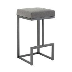 "Fortuna Counter Height Backless Barstool, Loft Gray Fabric/Flint Rock Gray, 26"""