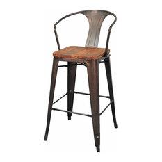 Apt2B - Grand Metal Bar Chairs, Set of 4, Gunmetal - Bar Stools and Counter Stools