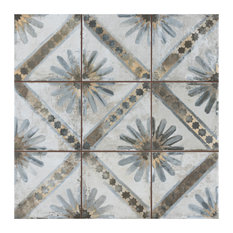 "SomerTile Harmonia Kings 13"" x 13"" Ceramic Floor and Wall Tile, Marrakech Blue"