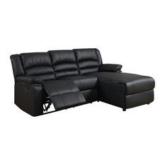Divano Roma Furniture Bonded Black Leather Sectional Sofa With Recliner Sofas