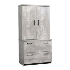 "Urban Wardrobe with Lateral File 36"" Concrete Laminate"