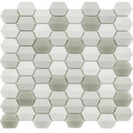 Rocky Point Tile Co - Vetro D'Terra Glass Carrara Elongated Hexagon Mosaics, 1 Sq Ft - This elongated hexagon glass mosaic tile is unique like never before. This tile will add an element of dimension and originality to any project. The color scheme is a mix of white, dark and light greys. The glass texture on these tiles resembles beach glass that's been smoothed down by sand. Really nice choice for a fireplace, kitchen backsplash, or bathroom accent.