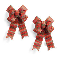 - Pre-Made Plaid Outdoor Bows, Set of Two - Seasonal Outdoor Decorations