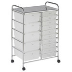 ECR4 Kids - 15-Drawer Mobile Organizer, White - Multi-purpose organizer is perfect for home, office, or school use! Translucent drawers keep art supplies, garden seeds, office items and more organized and easy to find. Organizer has casters for mobility, with two locking casters for safety. Tubular, chrome-plated steel frame and top shelf. Round, chrome-plated knob-style drawer pulls.