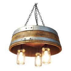 1/4 Wine Barrel & Mason Jar Hanging Pendant Light