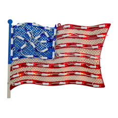 """14"""" Lighted Patriotic American Flag Window Silhouette Decoration"""