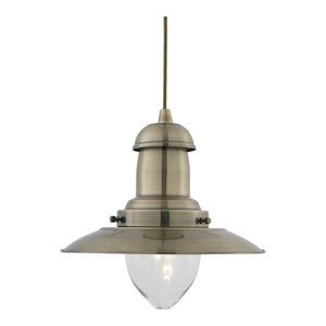 Fisherman Classic Style Ceiling Pendant With Clear Bell Glass, Antique Brass