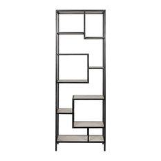 "85"" T Cavin Bookcase Smooth Quartz Stone Shelving Black Metal Frame Modern"