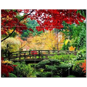 6 x 6 Rikki Knight Van Gogh Art Flowering Garden with Path Design Ceramic Art Tile