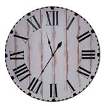 "Avery Street Design Co - The Maggie Farmhouse Wall Clock, 36"" - The Maggie farmhouse wall clock features vertical wood slats, a white heavily distressed finish, hand painted black roman numerals, individual hour and minute marks around the outer edge of the face, and antique style spade hands."