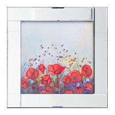 Square Mirror Picture Frame With Glittered Abstract Flowers Illustration