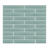 "Seafoam Green Glass Subway Tile, 2""x12"" Tiles, Set of 6"