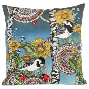 Wagtails Moody Polyester Cushion Cover, Blue