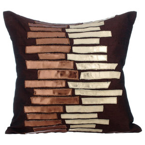 Metallic Leather 35x35 Silk Brown Cushion Covers, Metallic Ladder