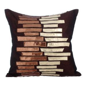 Metallic Leather 30x30 Silk Brown Cushion Covers, Metallic Ladder