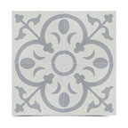 "8""x8"" Gray and White Cement Abner Handmade Tiles, Set of 12"