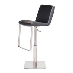 Leather Adjustable Stool Black W Brushed Steel