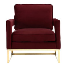 Merveilleux MOD   Nastya Luxe Velvet Chair, Maroon   Armchairs And Accent Chairs