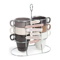 Maisons du monde - Set 6 tazze marroni e beige in maiolica + supporto AMERICANO - Tazze e bicchieri
