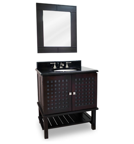 Basket Weaved Door Vanity Set With Frosted Glass Bathroom Vanities