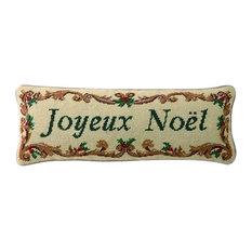 "Peking Handicraft, Inc. - 7.5""x20"" Joyeux Noel Needle Point Pillow, Poly Fill - Holiday Decorations"