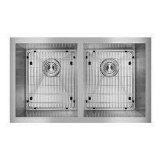 """EFU311810TC Crosstown 16 Gauge Stainless Steel 30-3/4"""" Double Bowl Sink Kit"""