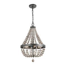 LNC 4-light Chandeliers Adjustable Aged Wood Beaded Black Basket Pendant Light