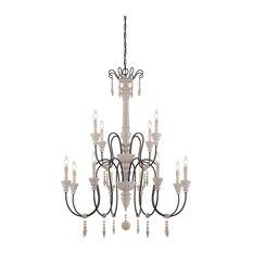 Savoy House Ashland 12-Light Chandelier, White Washed Driftwood