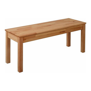 Rectangular Dining Bench, Oak Finished Solid Wood, Traditional Design