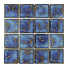 """SomerTile 12.5""""x12.5"""" Channel Square Azure Porcelain Mosaic Floor and Wall Tile"""