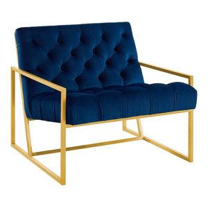 Modway Bequest Chair, Navy Finish, Velvet