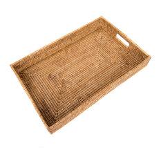 Artifacts Rattan Rectangular Tray, Honey Brown, Large