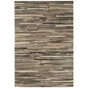 Gaucho Stripe Dark Grey Rectangle Modern Rug 120x170cm