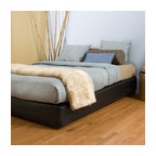 Black Faux Leather Cover Boxspring Cover, Queen