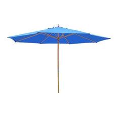 13' German Beech Wood Umbrella, Blue