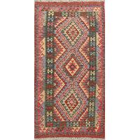 "Turkish Flat-Woven Traditional Runner Kilim 6' Oriental Rug, 6'4""X3'3"""