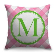 """Letter M - Circle Plaid"" Outdoor Pillow 20""x20"""