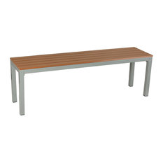 Avery Large Aluminum Outdoor Bench, Poly Wood, Silver/Teak