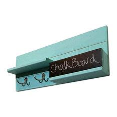Mail Organizer With Chalkboard Bin, 2-Hook, Avocado Green, Brass