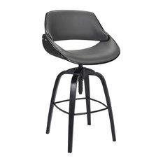 Ohlman Adjustable Barstool, Black Brushed Wood Finish and Gray Faux Leather