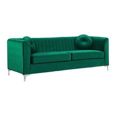 Meridian Furniture   Isabelle Velvet Sofa, Green   Sofas