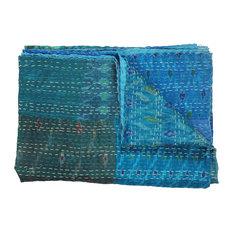 Hand Block Blue Kantha Throw Blanket